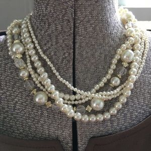 Vintage pearl & crystal necklace